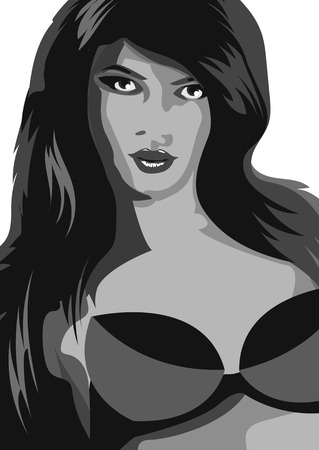 bath supplement: black and white sexy woman with bra.