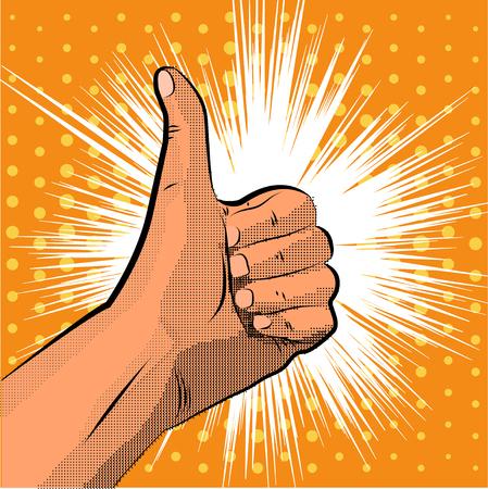 affirmative: Thumb up gesture like. finger halftone. Pop art style. Illustration