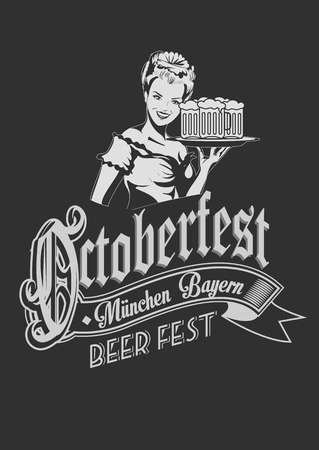 Pretty Bavarian girl with beer. Oktoberfest label with ghotic lettering. Ribbon banner