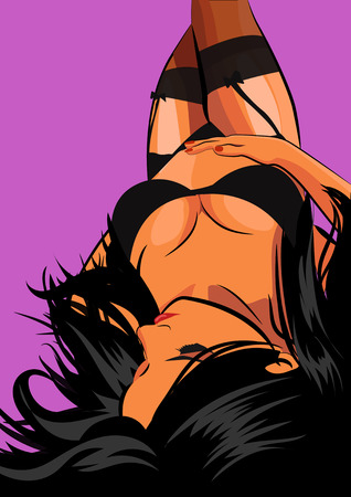 Sexy Girl in in black lingerie Lying Down Illustration