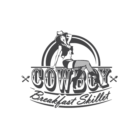 Sexy Cowgirl sitting on the letters Cowboy Breakfast skillet. American cuisine. 矢量图像