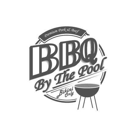 Delicious bbq sign design. Barbecue by the pool.