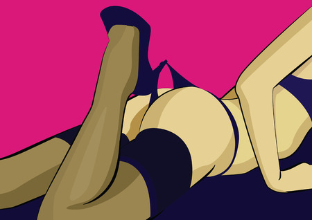 legs woman: Beautiful womans legs in high heels playing with black panties. Vector illustration