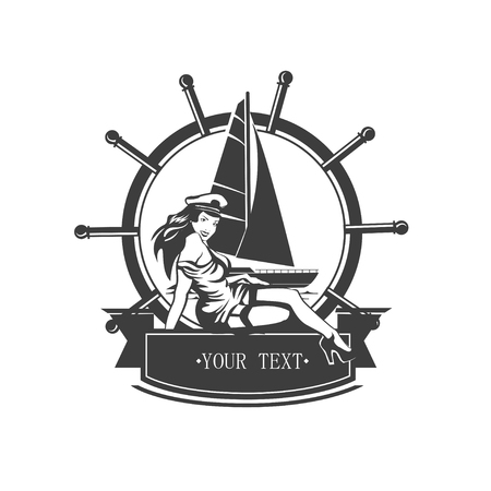 ap: Vintage icon yacht and pin ap sailor girl. Vector illustration