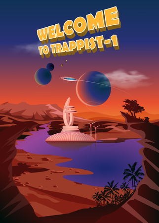 habitable: Trappist-1 system. Exoplanets. Space landscape, the colonization of the planets. Vector illustration Illustration