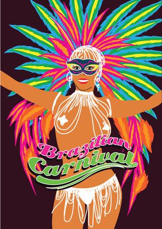 feather boa: Beautiful carnival dancer, amazing costume. Vector illustration.