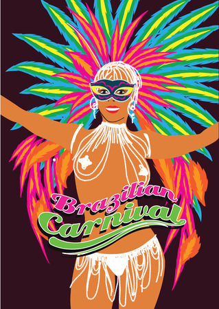 Beautiful carnival dancer, amazing costume. Vector illustration.