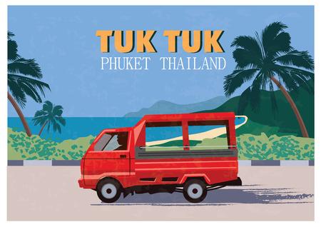 Thai traditional Tuk Tuk in Phuket of Thailand. Vector Illustration