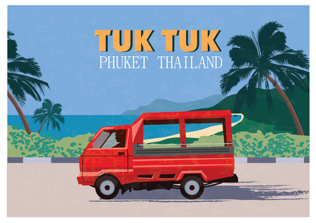 Thai traditional Tuk Tuk in Phuket of Thailand. Vector Illustration