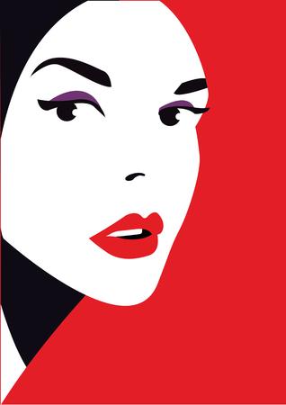 femine: Woman face, fashion style, vector illustration Illustration