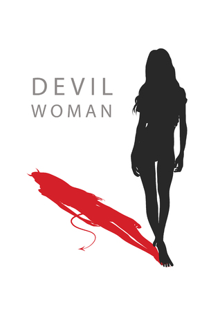 A woman with a devils tail. vector illustration. Ilustrace