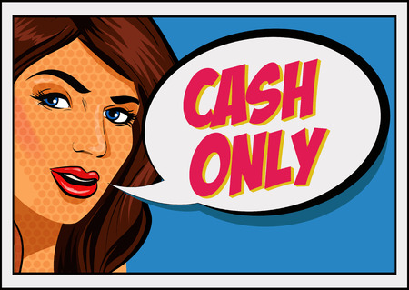 Happy pop art retro woman close-up face vector illustration. Cash only