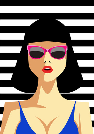 magazine design: Beautiful young woman with sunglasses, retro style. Pop art. Vector eps10 illustration