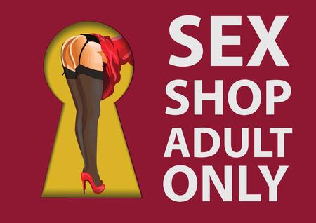Figura de mujer en medias vistas a través de un agujero de llave. Signo de Sex Shop Foto de archivo - 82077766