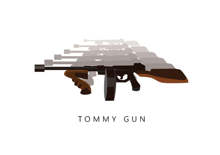 Automatic weapon tommy gun. Thompson submachine gun vector isolated.