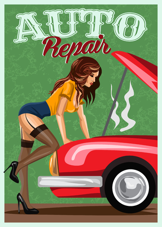 Woman in stockings repairing the red car. Retro style illustration. Stock Photo