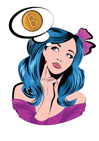Young woman with thought bubble dreaming about bitcoin.