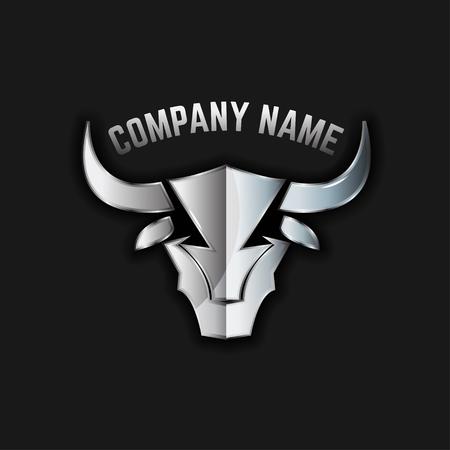 great: Bull head iron emblem. Vector illustration.