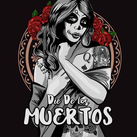 Jour de la femme morte avec la peinture de visage de crâne de sucre. Illustration vectorielle Banque d'images - 86221686