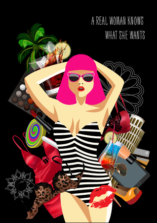 A woman inside of womens things, the concept of female desires. Vector illustration Çizim