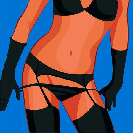 セクシーなパンティーで美しい女性。ベクトル図