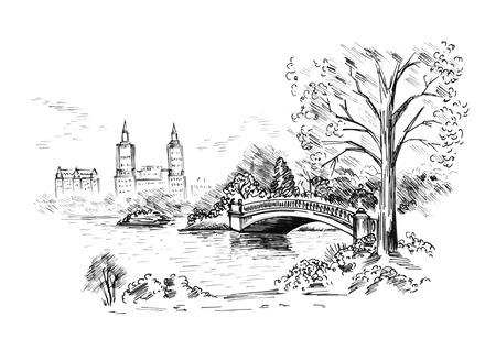 Schizzo di paesaggio urbano nel Central Park di New York City. illustrazione vettoriale Vettoriali