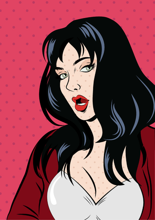 Illustration of a pop art woman in red. vector