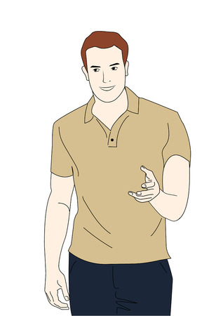 Man in light brown sweater and jeans standing illustration.