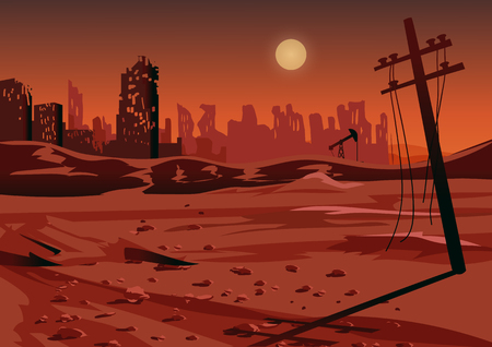 Landscape after a nuclear war or an environmental disaster vector illustration. 일러스트