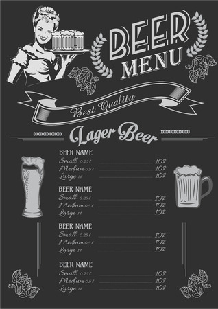 Vintage chalk drawing beer menu design. Restaurant menu.