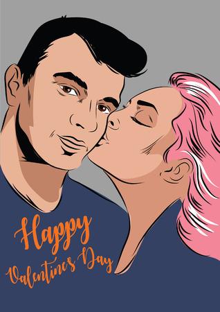 Romantic Couple. Happy valentines day Vector illustration