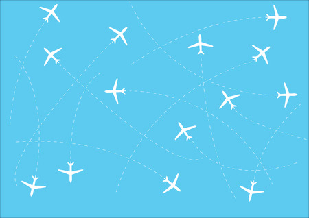 White lines. The Sky. Airplanes Blue background