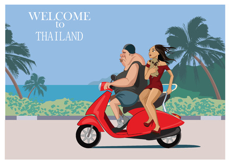 European tourist rides a scooter with a Thai beautiful girl. Thailand vector illustration.