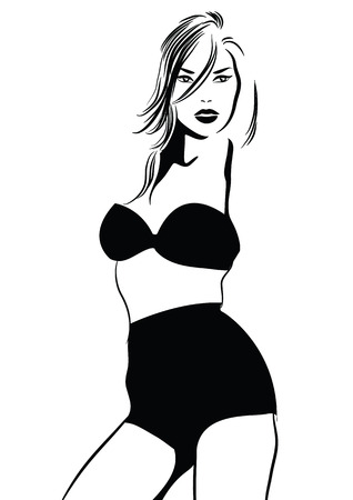 Black and white vector pic with bikini girl. Vector illustration