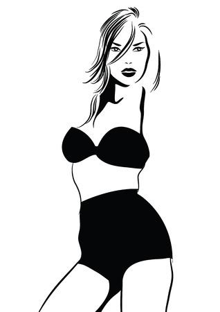 Foto in bianco e nero di vettore con la ragazza del bikini. Illustrazione vettoriale Archivio Fotografico - 98606205