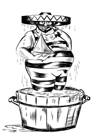 A merry Mexican in a barrel of water and a toy boat in his hand. Sketch vector illustration