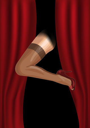 Female foot is shown from the curtain,Cabaret retro poster. Vector illustration.