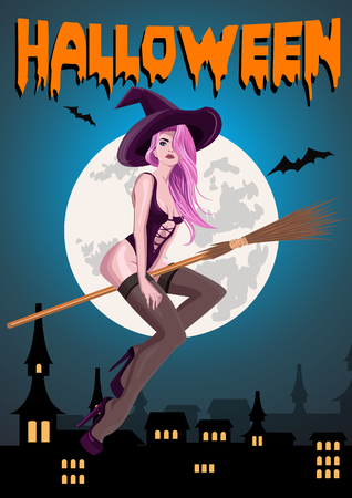Retro pin-up witch on the broomstick. Vector illustration.