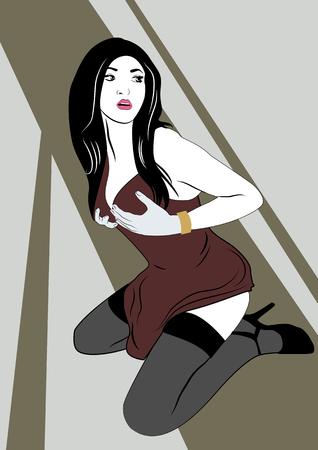 Sexy Brünette in dunkelroten Dessous. Pop-Art-Vektorillustration