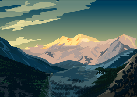 Sunrise over Nanga Parbat, Mountain landscape Vector illustration.