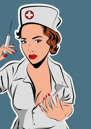 Schöne Krankenschwester mit einer Spritze in der Hand. Vektorillustration