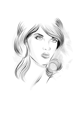 Fashion portrait drawing sketch. Vector illustration of a young woman face. Hand drawn fashion model face