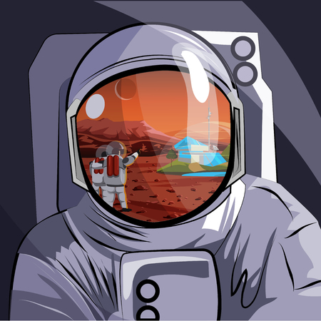 Astronaut. Reflection in the helmet of the Martian landscape with people, settlers of the planet. Vector illustration. Иллюстрация