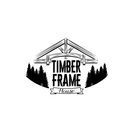 Timber frame house emblem. Vector design for  label, badge, t-shirt or for other type of graphic. Woodwork vector illustration