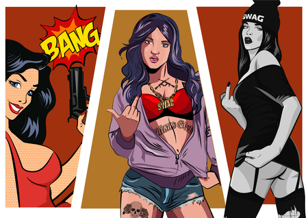 Gangster girl. Pretty Young Urban Girl set. Lady Vector artwork. Pop Art comic style.