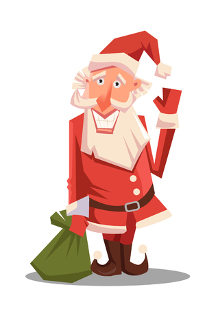Santa Claus with huge green bag with presents. Red Santa hat. For Christmas and New Year posters