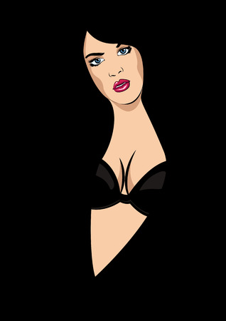 beautiful girl vector image, in black background, silhouette. Fashion girl. Vector illustration.
