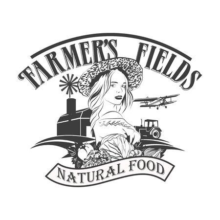 Farmers Fields. Vintage vector   design template. Vegetables or fresh food icon. 矢量图像