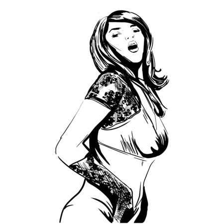 Sexy woman. Fashion illustration created in ink style. Vector illustration. Ilustração