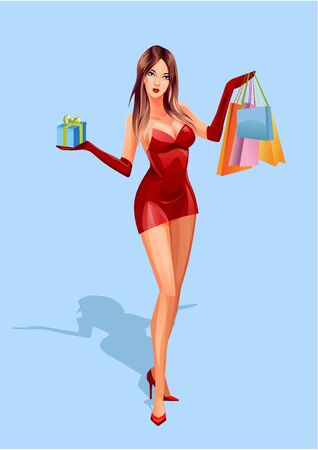 Beautiful woman in a red dress with shopping bags and a gift in her hand. Vector illustration.